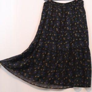 Xhilaration Floral Printed Chiffon Maxi Skirt